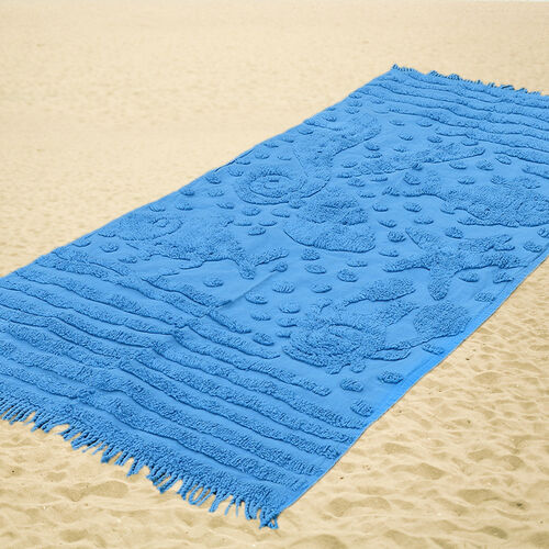 100% Cotton Tufted Aquarium Blue Beach Blanket with Fringes on Both Ends (Size 175x80 Cm)