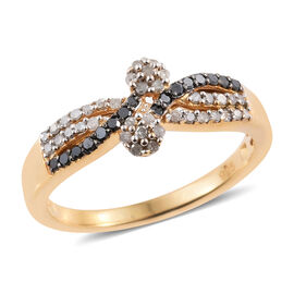 0.33 Carat Black And  White Diamond Twin Floral Ring in 14K Gold Overlay Sterling Silver
