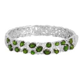 Russian Diopside (Ovl) Bangle (Size 7) in Platinum Overlay Sterling Silver 10.000 Ct.