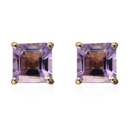 Amethyst (Oct) Stud Earrings (with Push Back) in 14K Gold Overlay Sterling Silver 3.250 Ct.