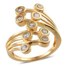 Espirito Santo Aquamarine (Rnd) Crossover Ring in 14K Gold Overlay Sterling Silver