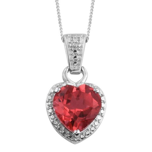 Padparadscha Quartz (Hrt) Solitaire Pendant With Chain in Platinum Overlay Sterling Silver 3.750 Ct.