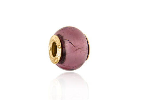 Close Out Deal 9K Y Gold Fuchsia Colour Murano Glass Bead Charm