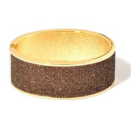Designer Inspired Brown Glitter Bangle (Size 7) in Yellow Gold Tone