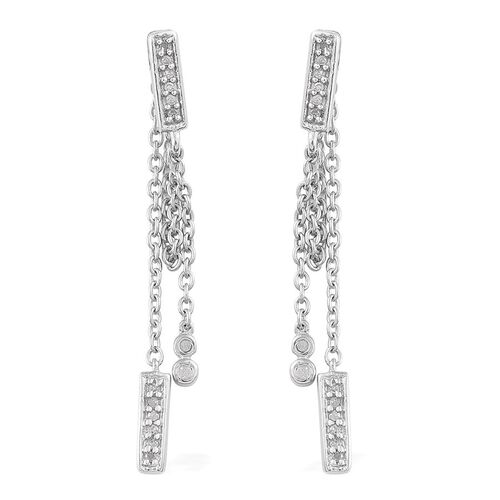 Diamond (Rnd) Earrings in Platinum Overlay Sterling Silver 0.150 Ct.