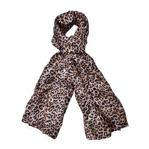 100% Mulberry Silk Leopard Pattern Brown Colour Scarf (Size 180x110 Cm)