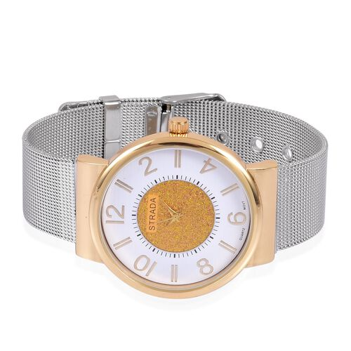 STRADA Japanese Movement Golden Stardust and White Dial Water Resistant Watch in Gold Tone with Stainless Steel Back and Chain Strap