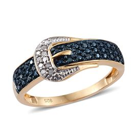 Blue Diamond (Rnd), White Diamond Buckle Ring in 14K Gold Overlay Sterling Silver 0.100 Ct.