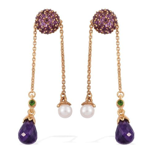 GP Fresh Water Pearl (Rnd), Amethyst, Russian Diopside, Rhodolite Garnet and Kanchanaburi Blue Sapphire Earrings (with Push Back) in 14K Gold Overlay Sterling Silver 6.450 Ct.