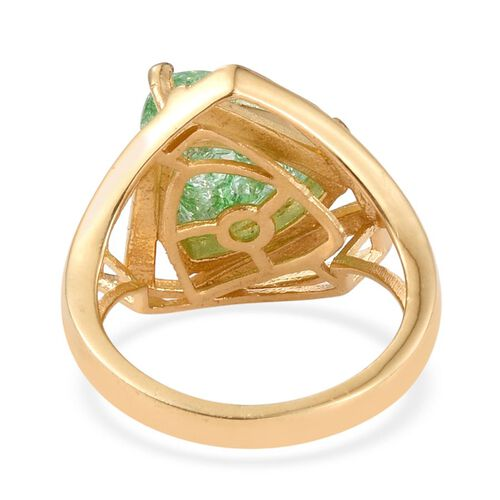 Emerald Green Crackled Quartz (Trl) Solitaire Ring in 14K Gold Overlay Sterling Silver 5.000 Ct.