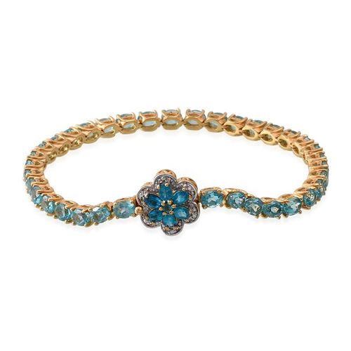 Paraibe Apatite (Ovl), Malgache Neon Apatite and White Topaz Floral  Bracelet (Size 8) in 14K Gold Overlay Sterling Silver 13.250 Ct.