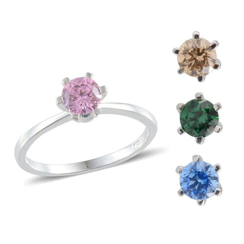 J Francis - Sterling Silver (Rnd) Interchangeable Ring Made with Pink, Blue, Green and Yellow SWAROVSKI ZIRCONIA