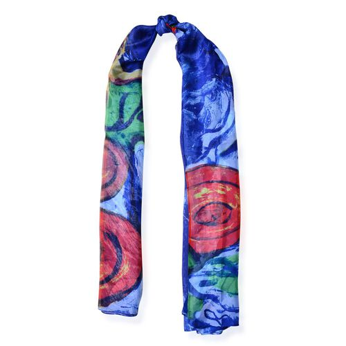 Blue and Multi Colour Abstract Pattern Blue Colour Scarf (Size 190x135 Cm)