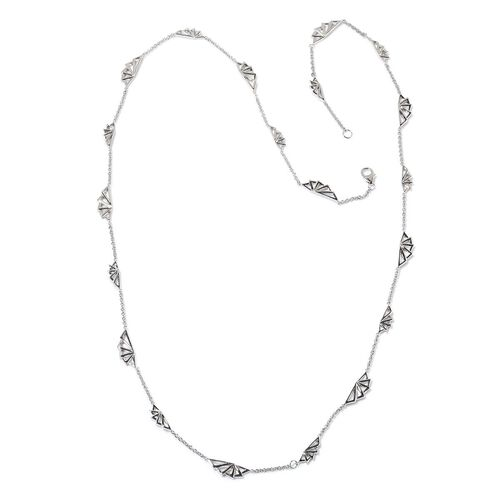 LucyQ Art Deco Necklace (Size 32) in Rhodium Plated Sterling Silver 25.30 Gms.