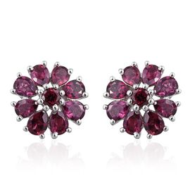 Odisha Rhodolite Garnet (Rnd) Floral Stud Earrings (with Push Back) in Platinum Overlay Sterling Silver 3.000 Ct.