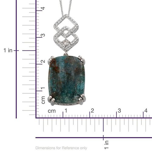 Madagascar Apatite (Cush 13.00 Ct), White Austrian Crystal Pendant in ION Plated Platinum Bond with Stainless Steel Chain 13.100 Ct.