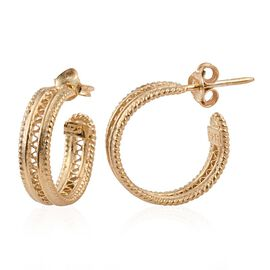 Yellow Gold Overlay Sterling Silver Hoop Earrings (with Push Back), Silver wt 4.61 Gms.