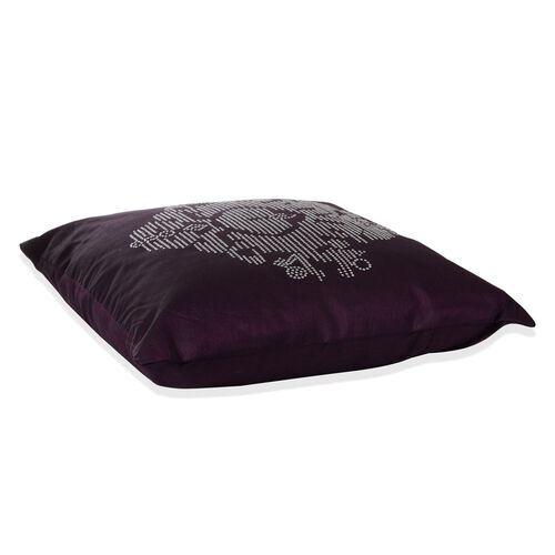Damask Pattern Puple Colour Cushion with Silver Studs (Size 42x42 Cm)