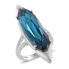 J Francis Crystal from Swarovski - Indicolite Colour Crystal Solitaire Ring in ION Plated Platinum Bond