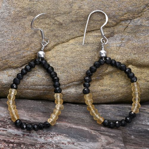 Boi Ploi Black Spinel, Citrine Hook Earrings in Platinum Overlay Sterling Silver 14.360 Ct.