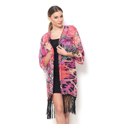 Multi Colour Floral Printed Kimono with Tassels (Size 80x50 Cm)