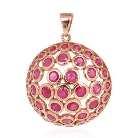 Burmese Ruby (Rnd) Pendant in 14K Rose Gold Overlay Sterling Silver 7.010 Ct.