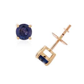 ILIANA 18K Y Gold Kanchanaburi Blue Sapphire (Rnd) Stud Earrings (with Screw Back) 1.250 Ct.