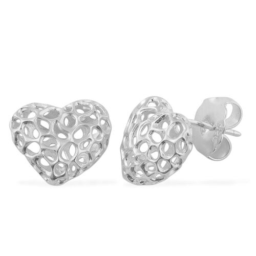 RACHEL GALLEY Sterling Silver Amore Heart Stud Earrings (with Push Back), Silver wt 3.10 Gms.