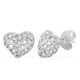 RACHEL GALLEY Rhodium Plated Sterling Silver Amore Heart Stud Earrings (with Push Back)