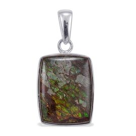 Jewels of India Ammolite Solitaire Pendant in Sterling Silver 18.190 Ct.