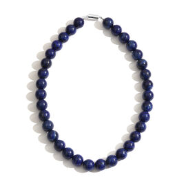 Lapis Lazuli (Rnd) Necklace (Size 18) in Rhodium Plated Sterling Silver 775.00 Ct.