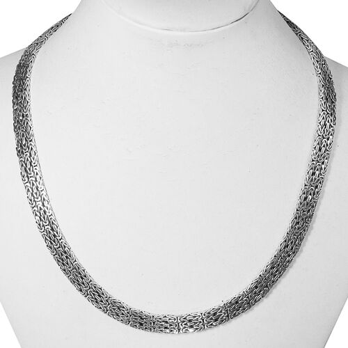 Royal Bali Collection Handmade Sterling Silver Borobudur Necklace (Size 17), Silver wt 65.44 Gms.