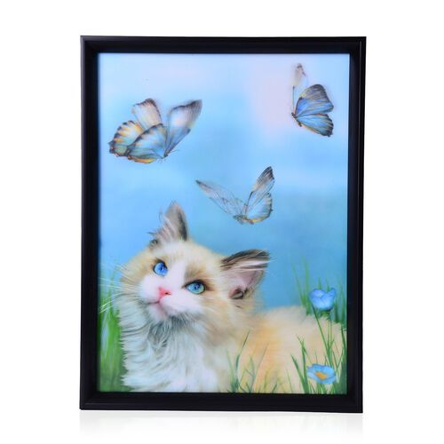 Wall Decor - Cat and Butterflies Framed 4D Wall Painting (Size 41x31.15x2 Cm)