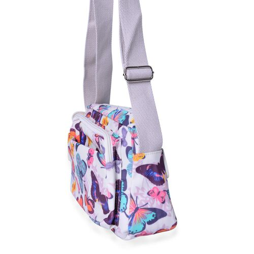 White and Multi Colour Butterfly Pattern Crossbody Bag with External Zipper Pocket and Adjustable Shoulder Strap (Size 23X18.5X7.5 Cm)