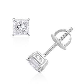 ILIANA 18K W Gold IGI Certified Diamond (Sqr) (SI/G-H) Stud Earrings (with Screw Back) 1.000 Ct.