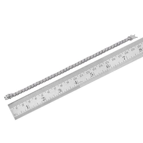 J Francis - Platinum Overlay Sterling Silver (Rnd) Bracelet (Size 7.5) Made with SWAROVSKI ZIRCONIA