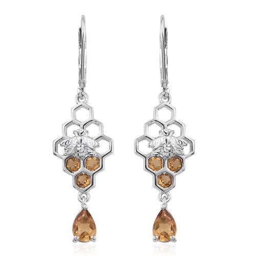 Citrine (Pear) Honeycomb with Bee Lever Back Earrings in Platinum Overlay Sterling Silver 1.750 Ct.