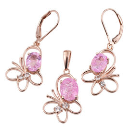 Hot Pink Crackled Quartz (Ovl 1.75 Ct), White Topaz Pendant and Lever Back Earrings in Rose Gold Overlay Sterling Silver 4.250 Ct.