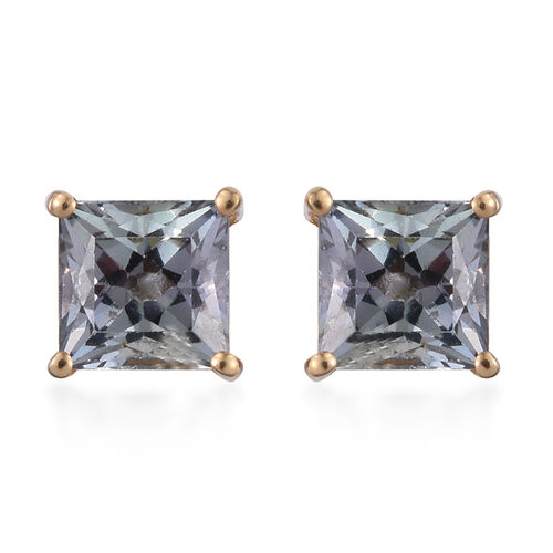 1 Carat Bondi Blue Tanzanite Square Solitaire Stud Silver Earrings in 14K Gold Overlay.