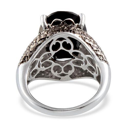 Boi Ploi Black Spinel (Ovl 10.00 Ct), Black Diamond Ring in Platinum Overlay Sterling Silver 10.050 Ct.