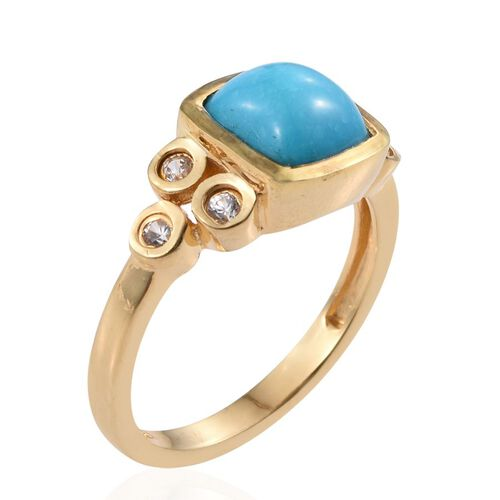 Arizona Sleeping Beauty Turquoise (Cush 2.25 Ct), Natural Cambodian Zircon Ring in 14K Gold Overlay Sterling Silver 2.500 Ct.