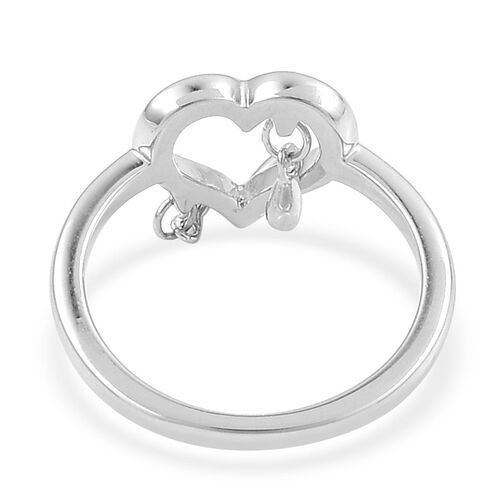LucyQ Open Melting Heart with 3 Drip Ring in Rhodium Plated Sterling Silver