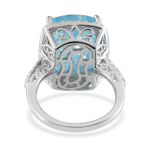 Blue Crackled Quartz (Cush 11.50 Ct), White Topaz Ring in Platinum Overlay Sterling Silver 12.250 Ct.