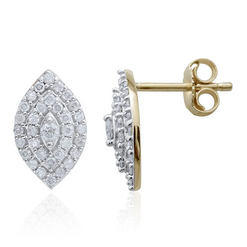 9K Y Gold SGL Certified Diamond (Rnd) (I3/G-H) Earrings (with Push Back) 0.500 Ct.