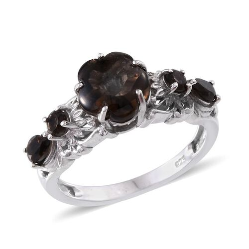 Brazilian Smoky Quartz Ring in Platinum Overlay Sterling Silver 2.750 Ct.
