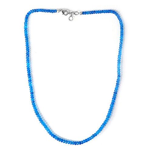 Malgache Neon Apatite (Rnd) Necklace (Size 18) in Sterling Silver 57.400 Ct.