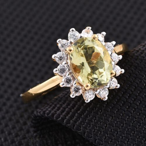 Natural Canary Apatite (Ovl 2.00 Ct), Natural Cambodian Zircon Ring in 14K Gold Overlay Sterling Silver 2.500 Ct.
