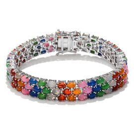 Ethiopian Welo Opal (Ovl), Blue, Pink, Red, Orange and Green Ethiopian Opal Bracelet in Platinum Overlay Sterling Silver (Size 7.5) 17.250 Ct.