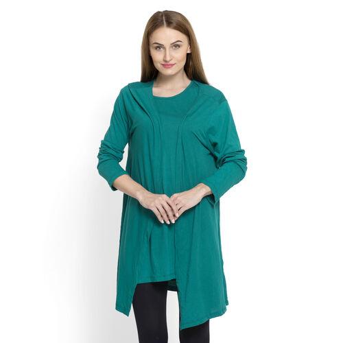 Set of 2 - 100% Cotton Teal Colour Long Sleeve Tank Top Cardigan (Size Small / Medium)