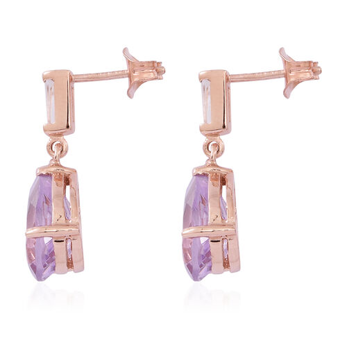 Rose De France Amethyst (Pear), White Topaz Earrings (with Push Back) in 14K Rose Gold Overlay Sterling Silver 5.500 Ct.